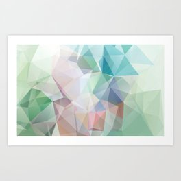 Delicate green polygonal pattern . Art Print