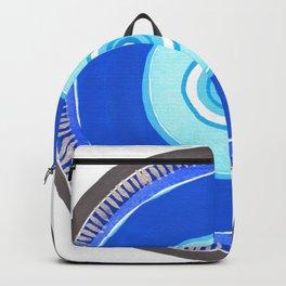 Blue and Silver Evil Eye Mandala Backpack