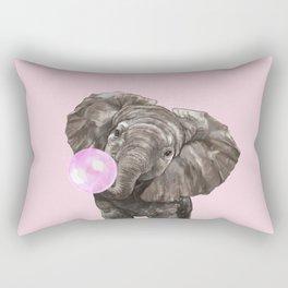 Baby Elephant Blowing Bubble Gum Rectangular Pillow