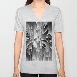 Flowers Exploding with Glitch in Black and White Unisex V-Neck