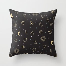Celestial bodies and symbols in the night sky Throw Pillow