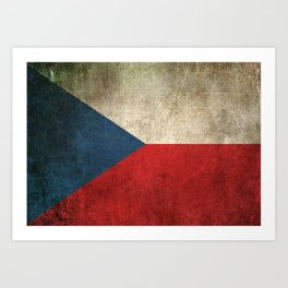 Old and Worn Distressed Vintage Flag of Czech Republic Art Print