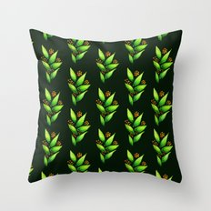 Abstract Watercolor Green Plant With Orange Berries Throw Pillow