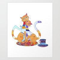 Tea for 2 Kitty Loves Art Print
