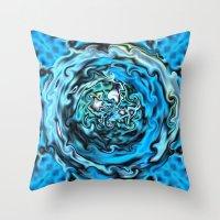 Aqua Swirl Topography Throw Pillow