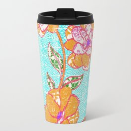 Crayon Bright Orange Flowers on Turquoise Travel Mug