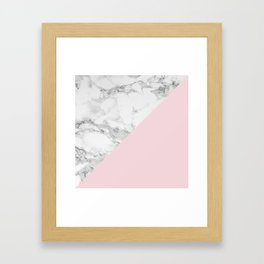 Marble + Pastel Pink Framed Art Print
