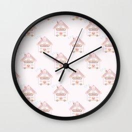Cute little house cross stitch - light pink Wall Clock