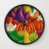 danny ivan Wall Clocks featuring Nice People Eat Vegetables - background (Made with Danny Ivan) by Lidija Paradinović Nagulov - Celandine