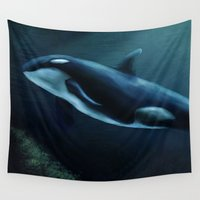 orca Wall Tapestries featuring Orca by Wesley S Abney