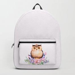 Bohomian Animal Illustration- Be Wise Little Owl Backpack