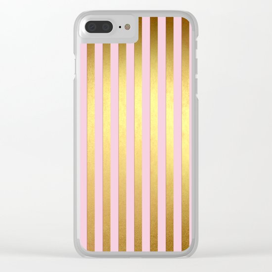 Striped- Pink and gold luxury stripes design Clear iPhone Case