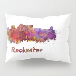Rochester MN skyline in watercolor Pillow Sham
