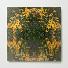 YELLOW RUDBECKIA DAISIES WATER REFLECTIONS Metal Print