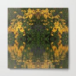 YELLOW RUDBECKIA DAISIES WATER REFLECTIONS Metal Print