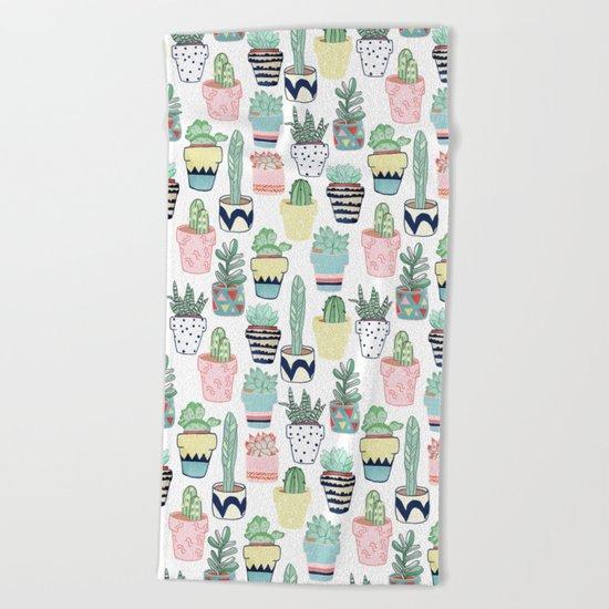 Cute Cacti in Pots Beach Towel