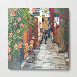 Flowers in an Alley Metal Print