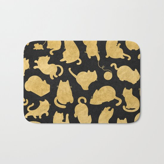 Gold on Black Kitty Pattern Bath Mat