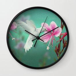 White Hummingbird And Pink Guara Wall Clock