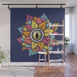Colorful Reptile Eye Flower Fun Weird Digital Art Wall Mural