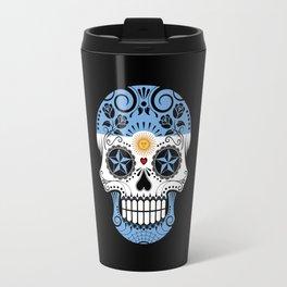Sugar Skull with Roses and Flag of Argentina Travel Mug