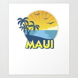 Vintage Maui Aloha Island Surfing 70s Retro Art Print