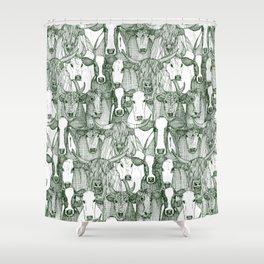 just cattle dark green white Shower Curtain