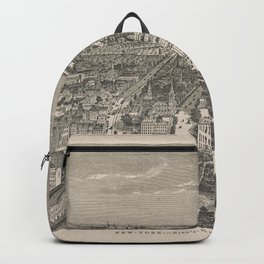 Vintage Cityscape Print - New York Bird's Eye View, Looking South from Union Square (1849) Backpack