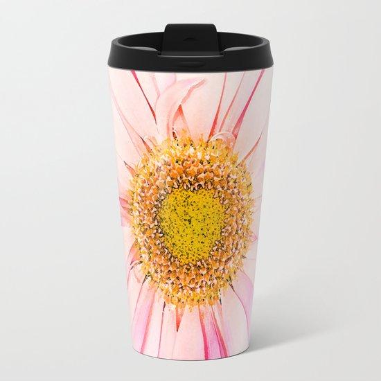 Pink flower with pink background - lovely girlish summer feeling Metal Travel Mug