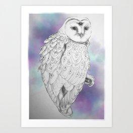 Owl with a third eye and crystal ball Art Print