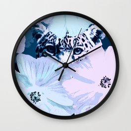 Behind the scenes - big cat hiding behind the flowers - lovely colors Wall Clock