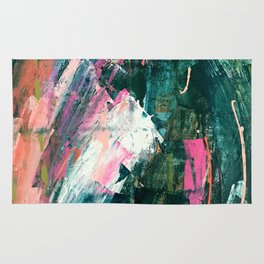Meditate [1]: a vibrant, colorful abstract piece in bright green, teal, pink, orange, and white Rug
