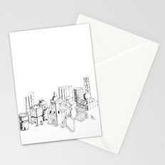 cubes and balls in the city Stationery Cards