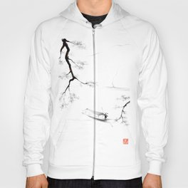 Japan in autumn Mountain Trees River and Boat Hoody