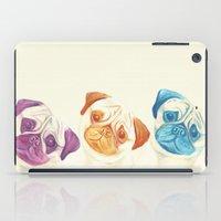 pugs iPad Cases featuring Three pugs by mirikins