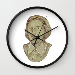 Christopher Marlowe Bust Drawing Wall Clock