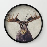 moose Wall Clocks featuring Moose by Retro Love Photography