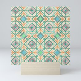 LATTICE MOD DECO PATTERN in Mod Colours Mini Art Print