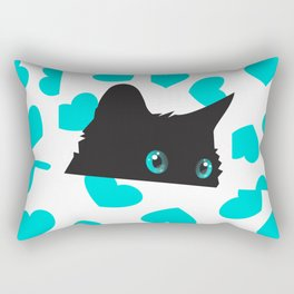 Kitty on Blanket with Hearts Rectangular Pillow