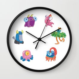 Six Silly Little Monsters Wall Clock