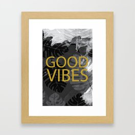 Good Vibes gold & black Framed Art Print