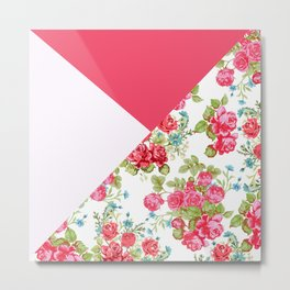 Geometric pink red white roses floral color block pattern Metal Print