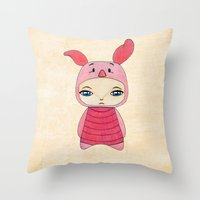 tigger Throw Pillows featuring A Boy - Piglet (porcinet) by Christophe Chiozzi