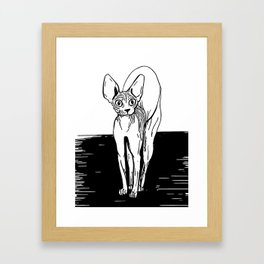 Black and White Sphynx Cat Line Drawing - Sphynx Lovers Gift - Naked Cat - Wrinkly Kitty Framed Art Print