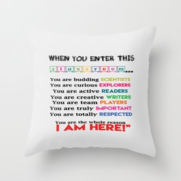 Classroom & teachers Connection Education Inspirational Quote Throw Pillow