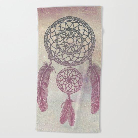 Double Dream Catcher (Rose) Beach Towel