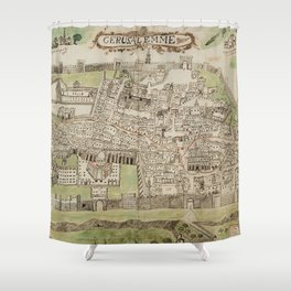 Vintage Map of Jerusalem Israel (16th Century) Shower Curtain
