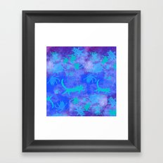 blue cats in space Framed Art Print