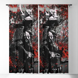 Samurai Red Flower Blackout Curtain