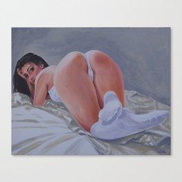 White Socks and a Peach Canvas Print